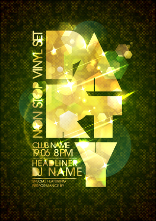 non: Non stop party poster mock up design with golden title and polygon backdrop