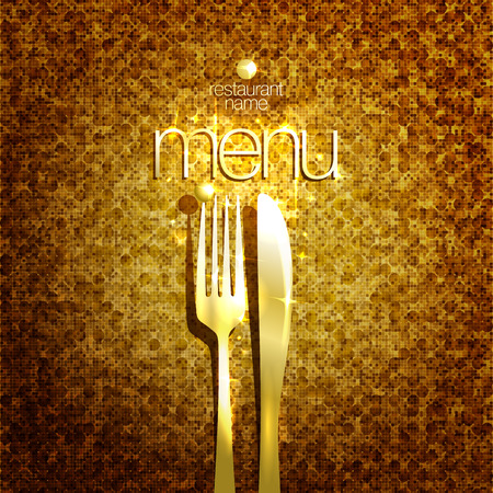 expensive food: Stylish expensive restaurant menu card design mock up with golden fork and knife against gold sparkle backdrop