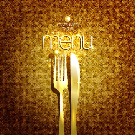 expensive: Stylish expensive restaurant menu card design mock up with golden fork and knife against gold sparkle backdrop