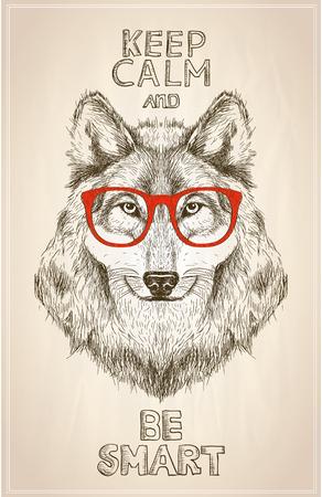Hipster wolfs portret met een bril, met de hand getekende grafische illustartion. Houd kalm en wees slim citaatkaart Stock Illustratie
