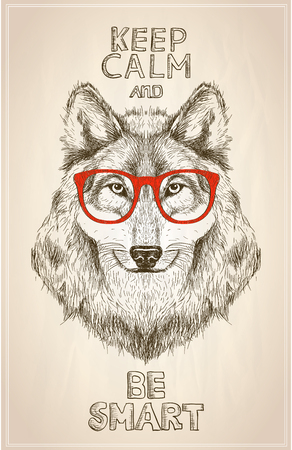 Hipster wolf portrait with glasses, hand drawn graphic illustartion. Keep calm and be smart quote card Vectores