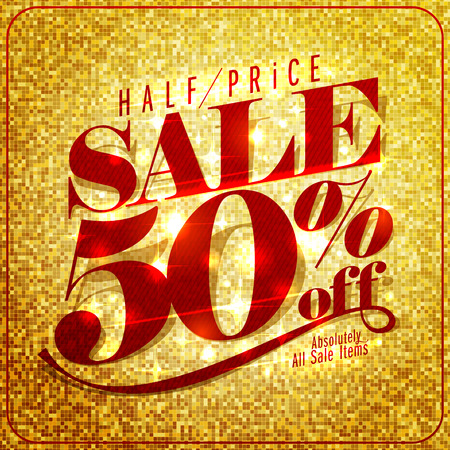 Half price sale mock up design, 50% off, rich and fashion illustration