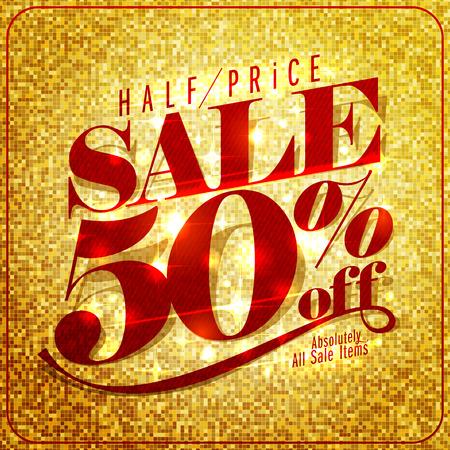 Half price sale mock up design, 50% off, rich and fashion illustration