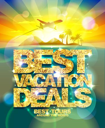 Beste vakantie aanbiedingen poster, reclame-ontwerp mock-up met gouden kop en vliegen tegen gouden dageraadhemel