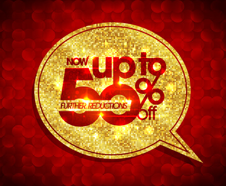 further: Up to 50 percents off, further reductions sale golden speech bubble design against red polygon backdrop
