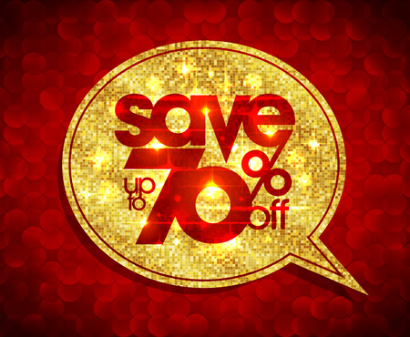 70 years: Golden speech bubble coupon - save up to 70 percents off, sale golden design against red polygon background