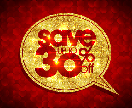 Sparen Sie bis zu 30 Prozent aus, goldene Sprechblase Illustration, Verkauf Mosaik-Design gegen rote Polygone