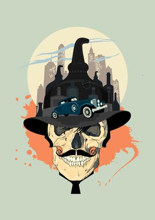 design Bootlegger avec le crâne des hommes. Vecteurs