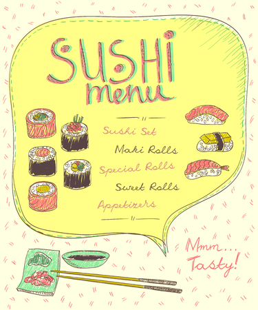 Sushi menu list design, hand drawn illustration