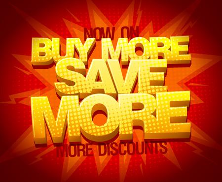 Koop meer sparen meer, verkoop banner ontwerp Stock Illustratie