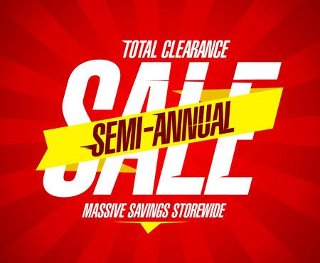 Semi jaarlijkse verkoop banner, de totale klaring, enorme besparingen