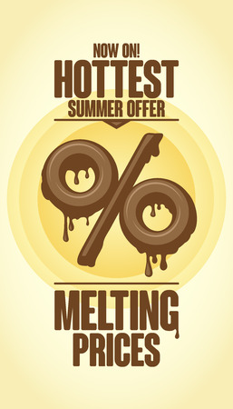 hottest: Melting prices, hottest summer offer design Illustration
