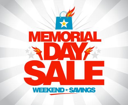 día de la venta del cartel ahorro de fin de semana Memorial. Ilustración de vector