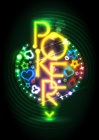 neon lights: Poker game neon lights signboard, design for casino