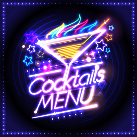 Cocktails menu card design, neon lights style, burning cocktail and stars