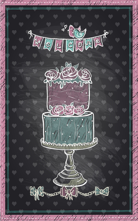 chalk outline: Chalkboard hand drawn invitation sign for wedding day, baby shower or sweet party, cute cake and welcome garland Illustration