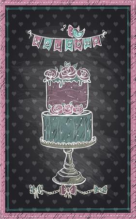 Chalkboard signe d'invitation tirée par la main pour le jour du mariage, baby shower ou d'un parti doux, gâteau mignon et guirlande de bienvenue Vecteurs