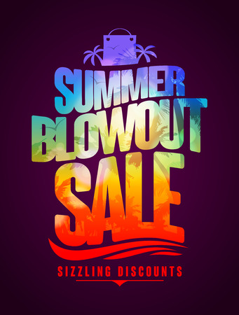 Sizzling discounts, summer blowout sale text design with tropical backdrop silhouette