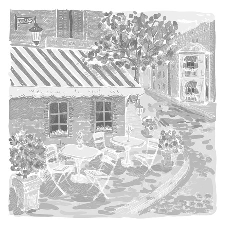 old street: Black and white graphic illustration of an old street cafe. Illustration