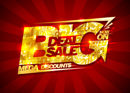 big deal: Big deal sale, mega discounts, rich golden banner with rays, vintage style