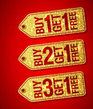 Golden label tags set - buy one get one free, buy two get one free, buy three get one free, promotional sale labels set