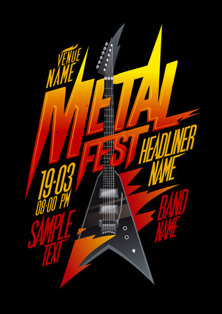 electro: Metal fest poster design with vintage v style electro guitar, copy space mockup