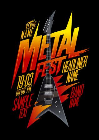 glam rock: Metal fest poster design with vintage v style electro guitar, copy space mockup