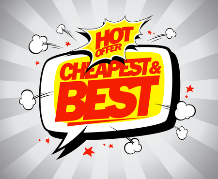 online specials: Hot offer, cheapest and best. Sale vector illustration.