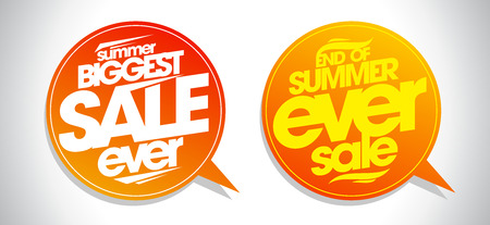 end of summer: End of summer ever sale speech bubbles set.