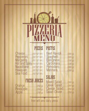 restaurante italiano: Pizzeria diseño de lista de menú, estilo retro maqueta