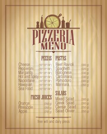 pizzeria label: Pizzeria menu list design, retro style mock up