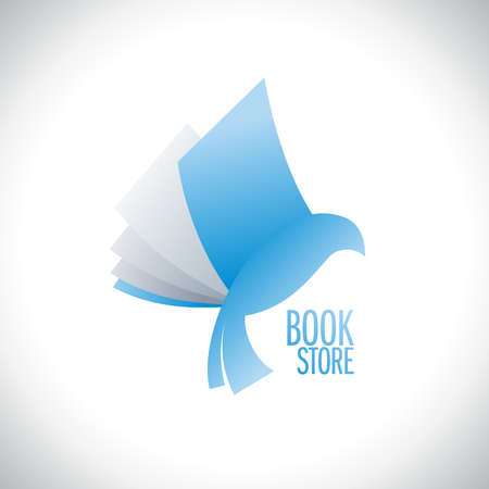 book store: Book store icon with book flying like bird, education and entertainment concept