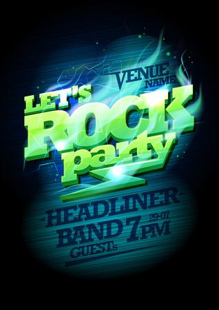 lets party: Let`s rock party design, electric plasma headline, copy space for text Illustration