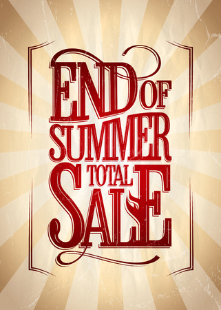end of summer: End of summer total sale poster vintage style.