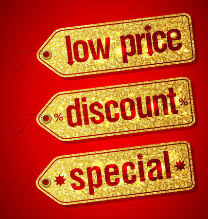 special price: Golden set of  labels for discount sales - low price, discount and special