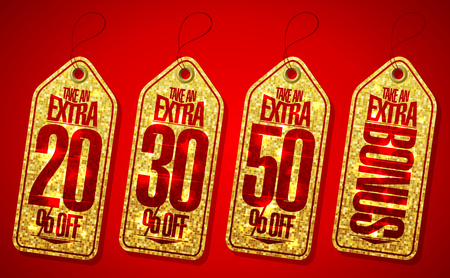 commercial sign: Golden take an extra bonus coupons tags set - 20 percents,30 percents, 50 percents and extra bonus Illustration