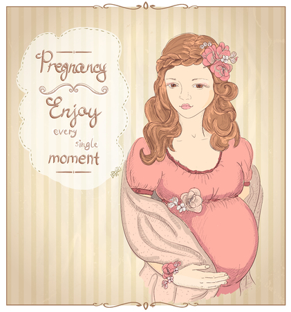 pregnancy woman: Pregnancy vintage style quotes card - Enjoy every single moment with graphic portrait of a pretty pregnant woman Illustration