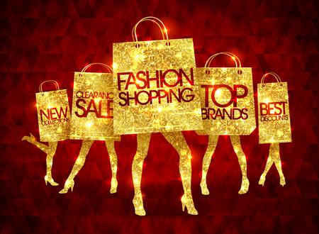 Golden winkelende vrouwen silhouetten met papieren boodschappentassen, grappige mode tassen met slanke benen en voorbeeld tekst