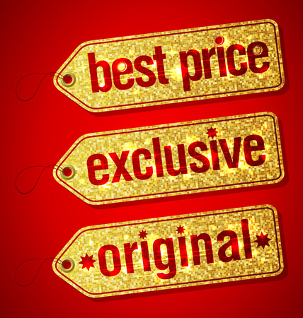 best ad: Best price, exclusive and original golden set of  labels for discount sales