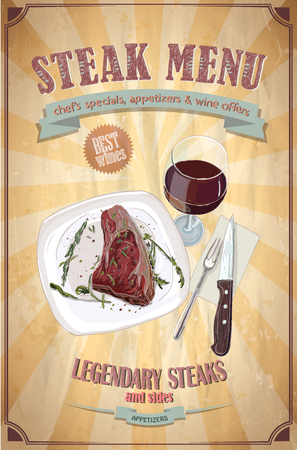 steak plate: Steak menu design with graphic illustration of a fillet mignon steak on a plate and glass of wine, vintage paper backdrop