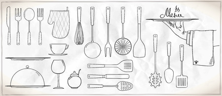drainer: Graphic set of kitchen utensils and tableware Illustration