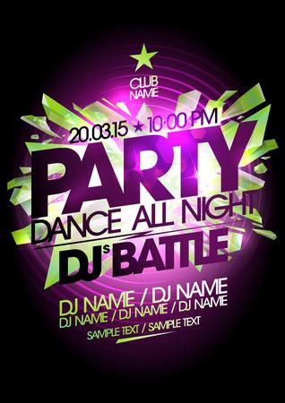 night art: Dance all night party art design. Illustration
