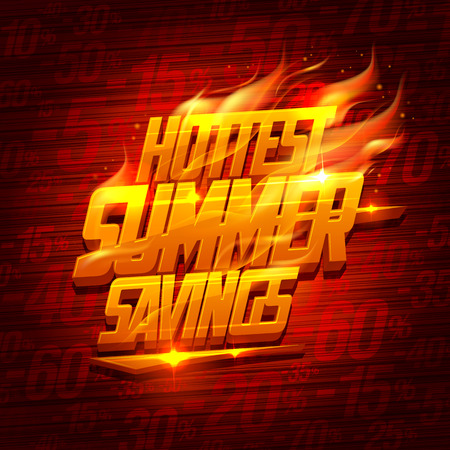 Hottest summer savings, original sale design Ilustração