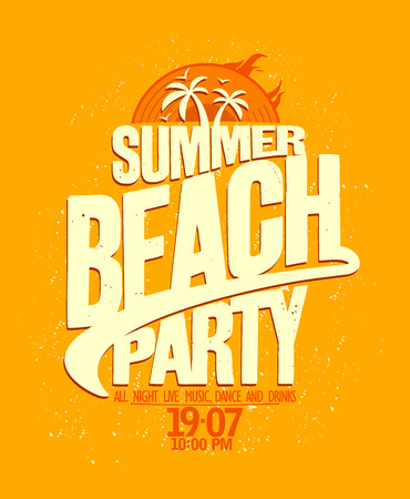 beach party: Summer beach party bright yellow design.