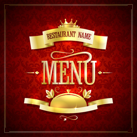golden ribbons: Chic restaurant menu vector design with golden ribbons, frame and headline against chic dark red damask backdrop