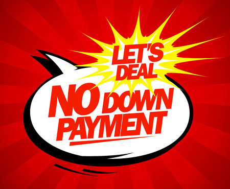 down: No down payment pop-art design. Illustration