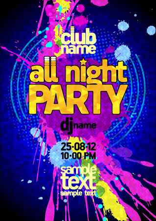party night: Fresh blue all night party design mock up, vibrant pink and yellow blots, copy space for text Illustration