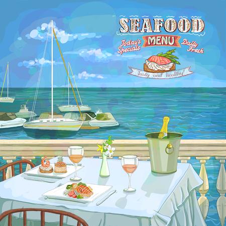 ilustración dibujados a mano menú de mariscos, mesa de restaurante servido para dos en la playa del mar, en contra de paisaje marino con yates
