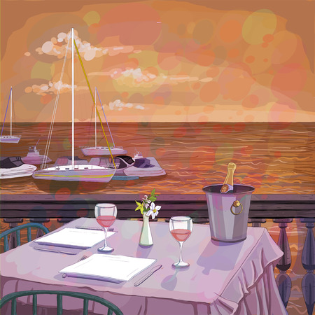 dinner: Romantic sunset dinner for two on the sea beach with wine, illustration of a served restaurant table, copy space for text