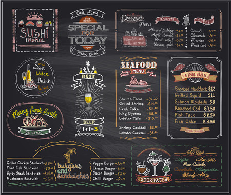 Chalk menu list blackboard designs set for cafe or restaurant, sushi menu, desserts, seafood, fish bar, cocktails, beer, burgers and sandwiches, copy space  mock up